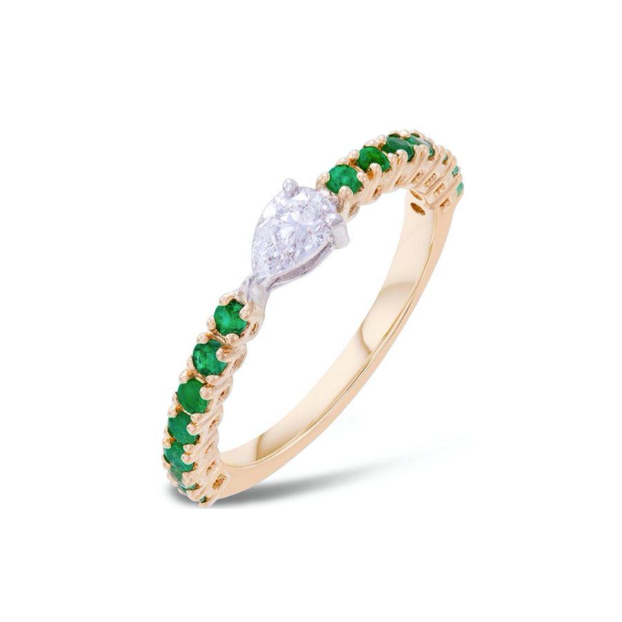 Gold Fancy Diamond Pear Emerald Ring - 18KT Gold - Monisha Melwani Jewelry