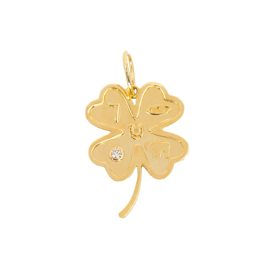 Gold Clover Good Luck Pendant - 14KT Gold.- Monisha Melwani Jewelry