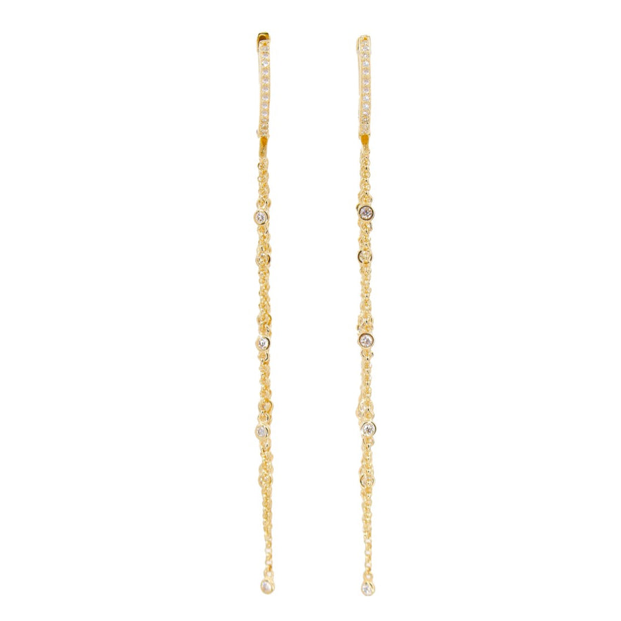 Diamond Long Chain Hoop Earrings - 14KT Gold - Monisha Melwani Jewelry