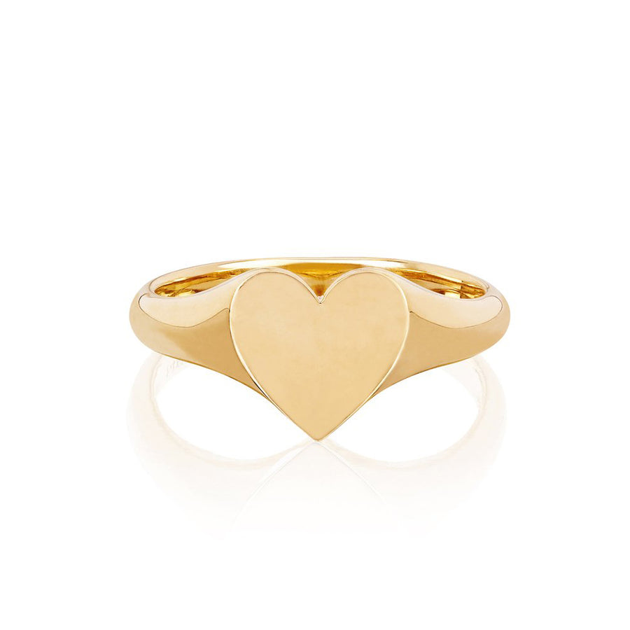 Gold Heart Signet Pinky Ring - EF Collection - Monisha Melwani Jewelry