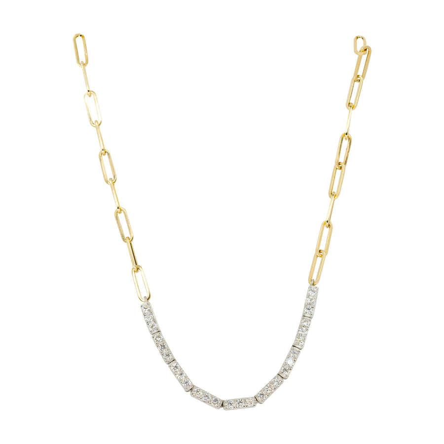 Gold Diamond Bar Half Paperclip Link Necklace - 14KT Gold - Monisha Melwani Jewelry