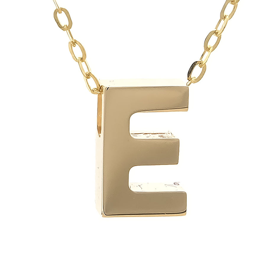 Yellow Gold Initial Block Necklace