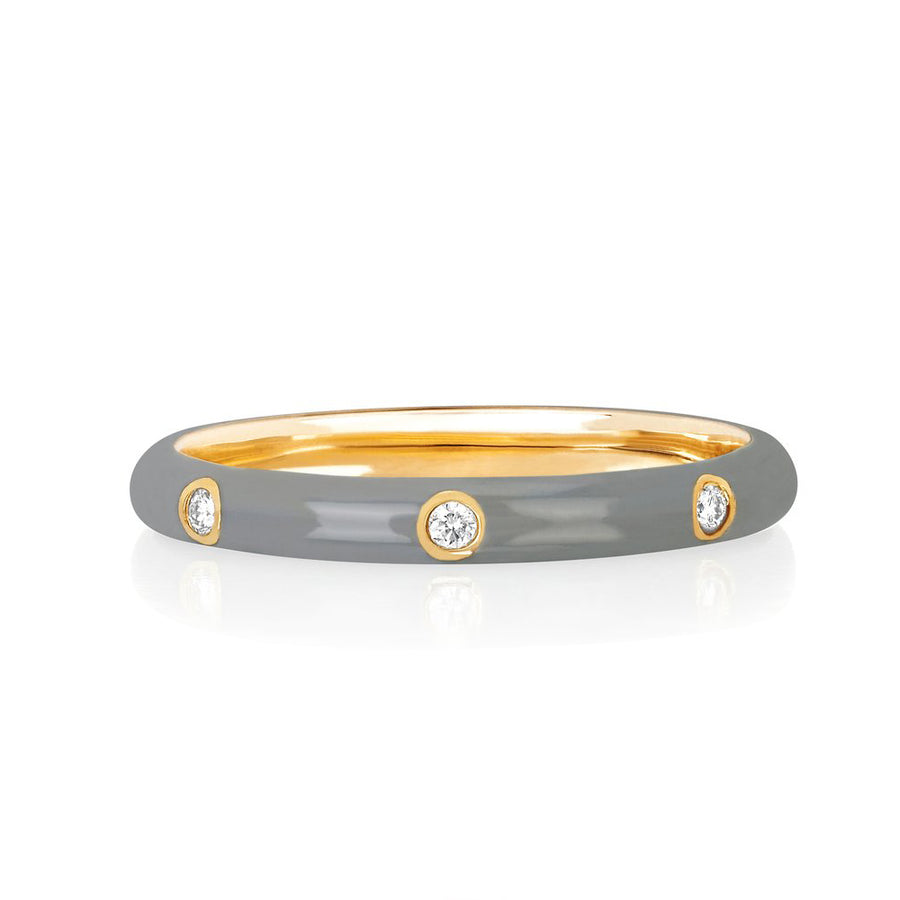 Diamond Light Grey Enamel Stacked Ring - EF Collection - Monisha Melwani Jewelry
