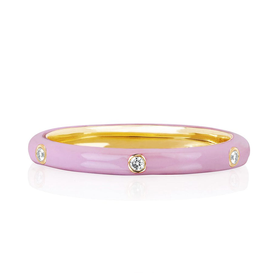 Diamond Light Pink Enamel Stacked Ring - EF Collection - Monisha Melwani Jewelry