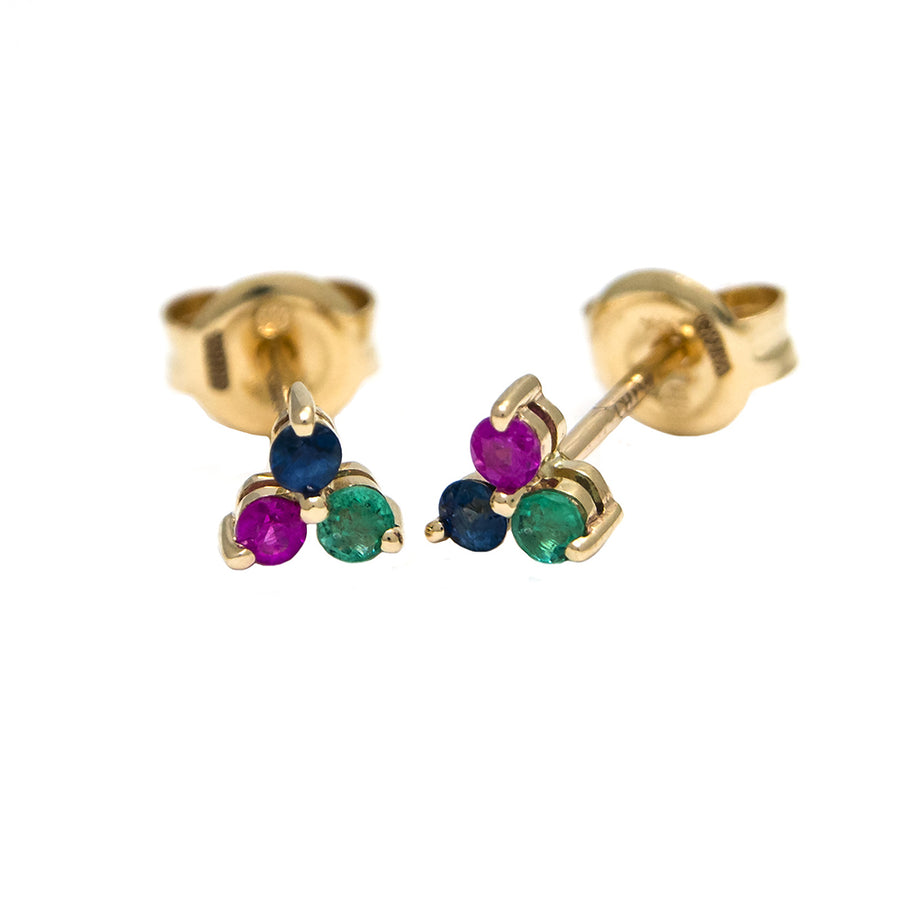 Yellow Gold Multi Colored Trio Earrings - Monisha Melwani Jewelry
