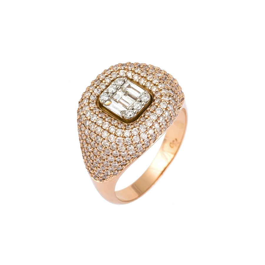 Gold Pave Mixed Diamond Signet Ring - 18KT Gold - Monisha Melwani Jewelry