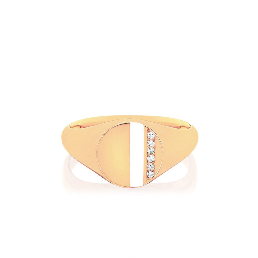 Diamond Enamel Stripe Signet Pinky Ring - EF Collection - Monisha Melwani Jewelry