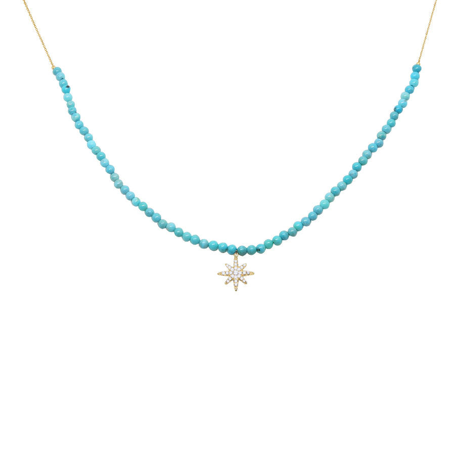 Gold Turquoise and Diamond Star Necklace - 18KT GOLD - MONISHA MELWANI JEWELRY