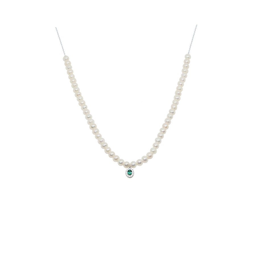 Gold Pearl and Emerald Diamond Necklace - 18KT GOLD - MONISHA MELWANI JEWELRY