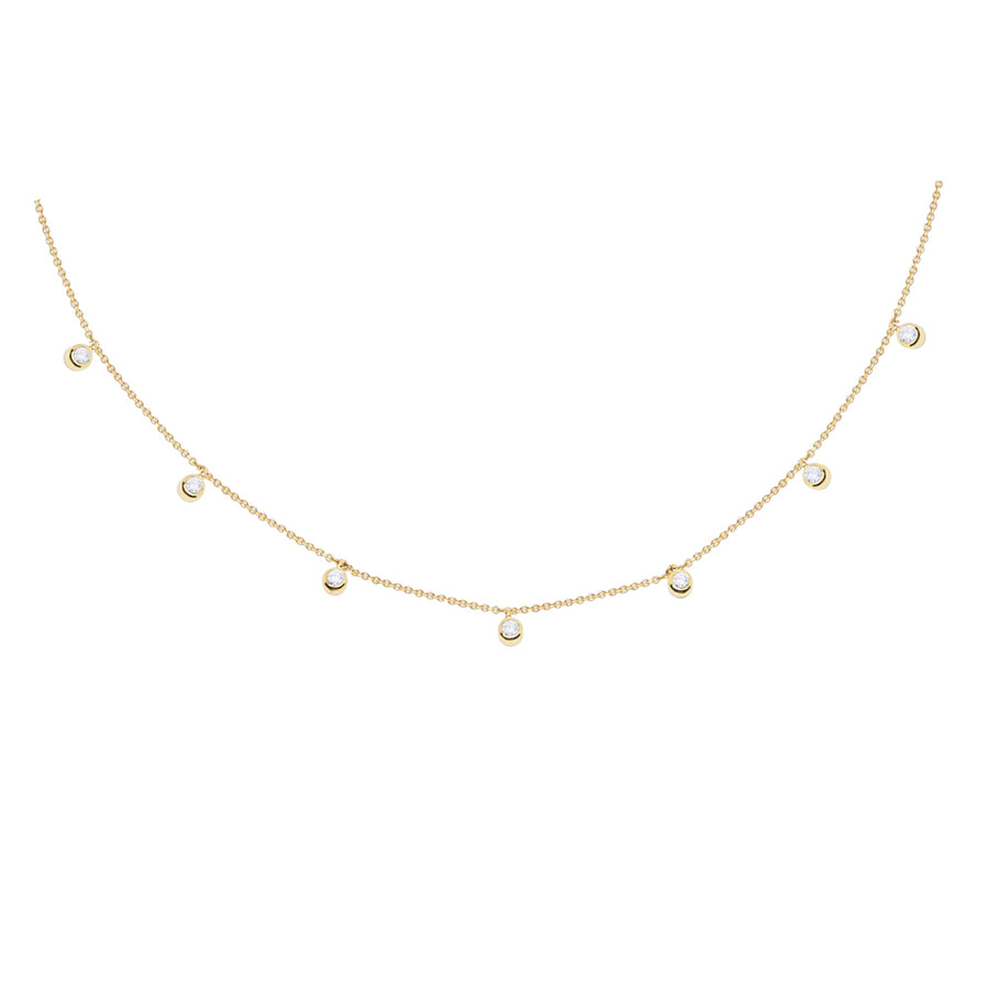 Gold Seven Diamond Bezel Drop Necklace - 18KT GOLD - MONISHA MELWANI JEWELRY