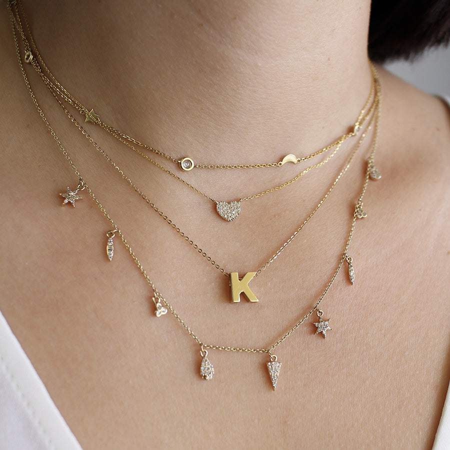 Yellow Gold Initial Necklace - Monisha Melwani Jewelry
