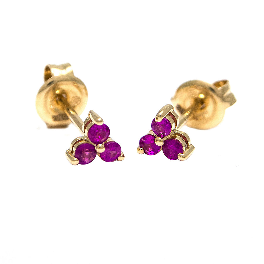 Yellow Gold Ruby Trio Earrings - Monisha Melwani Jewelry