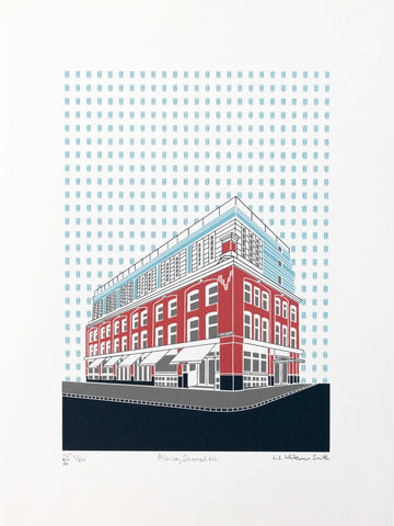 Albion cafe and Boundary hotel part of the Conran group on Redchurch street, Shoreditch. 4 colour screen print, 30x40 cm, £80.