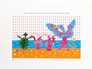 """'Will you, won't you, will you, won't you, won't you join the dance?"" The Lobster Quadrille is a formal dance where the Gryphon and Mock Turtle dance with the seals, turtles and other animals, each partnering a lobster. 7 colour screen print, 30x40 cm, £80."