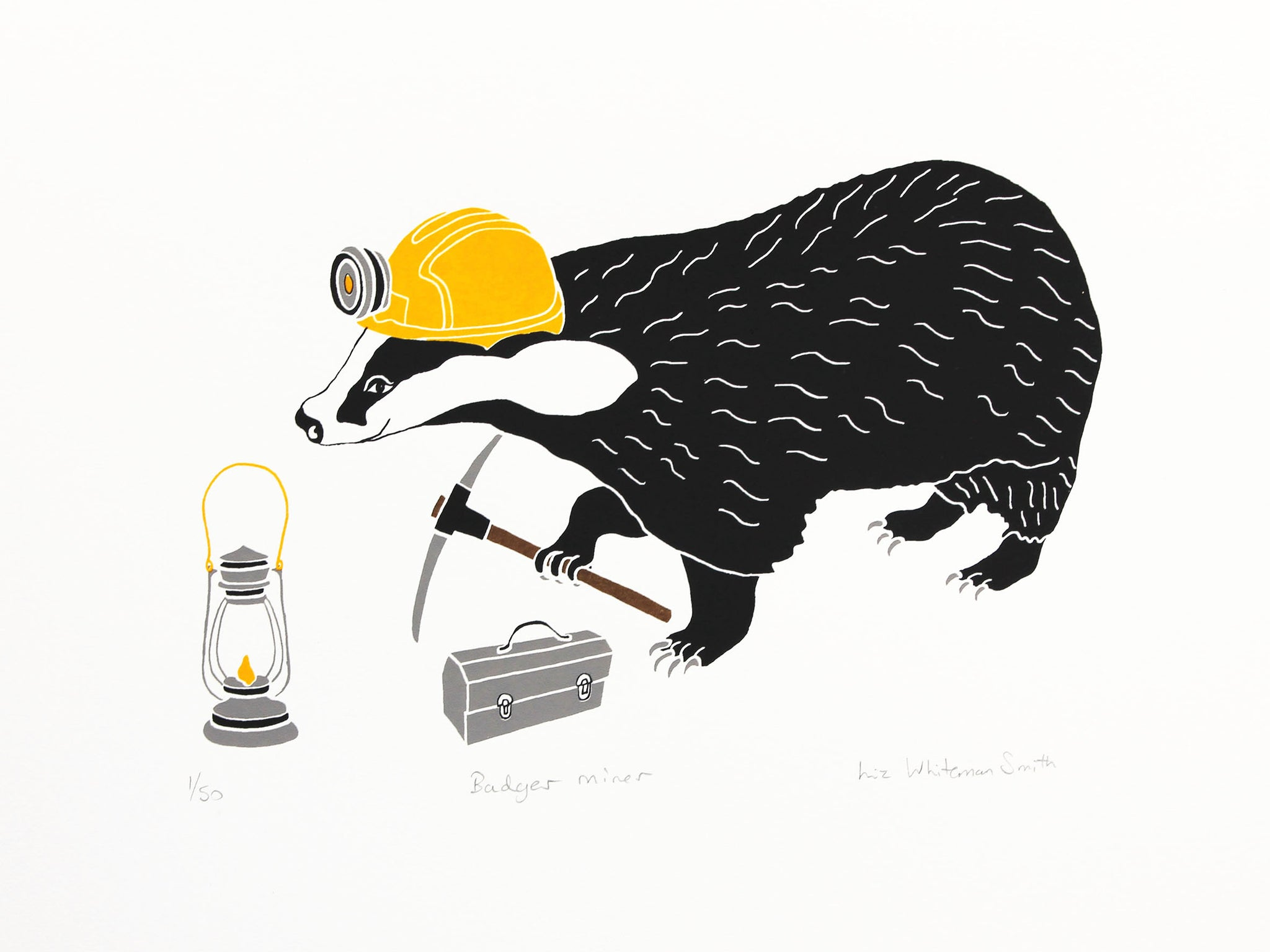 Animals have special characteristics that mean they are perfectly adapted to certain jobs. The badger is good at digging and is ready for his day's work with his lunchbox. 4 colour screen print, 40x30 cm, £80.