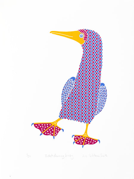 Ballet dancing booby bird with magenta pink heat patterned feet in blue and lilac screen print