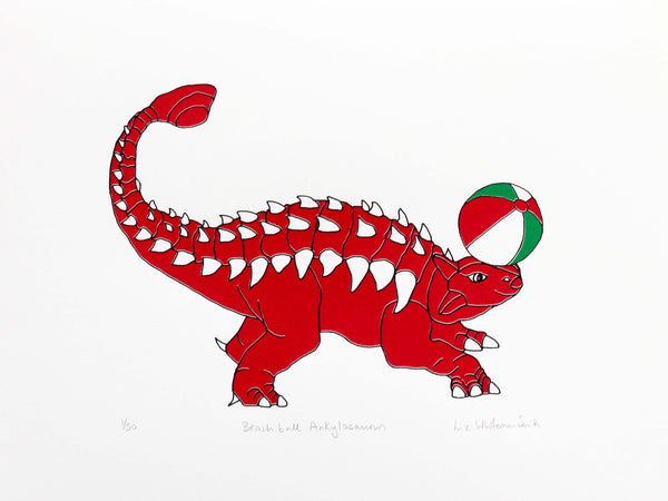 red dinosaur balancing a beach ball on its nose