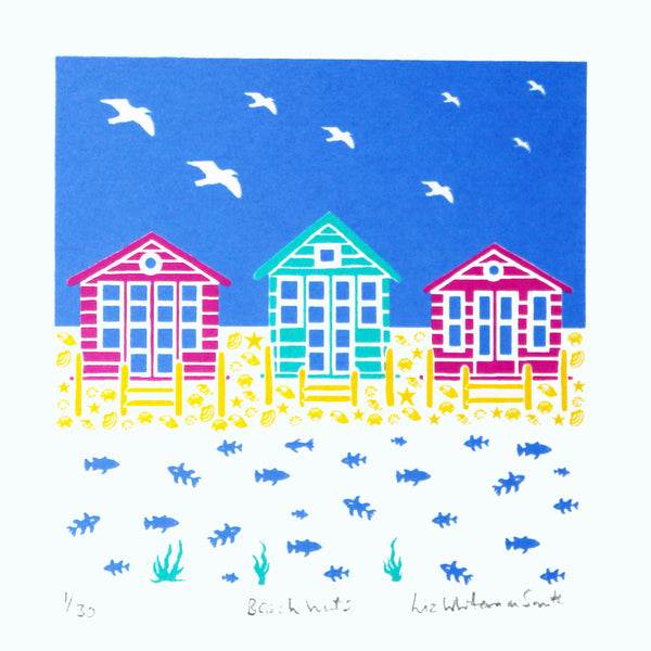 Pink and teal beach huts with shell and fish motif