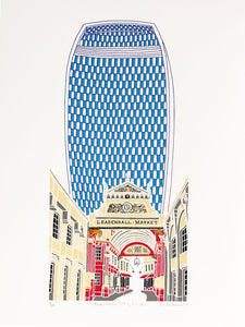 Blue Walkie Talkie building above Leadenhall market in London