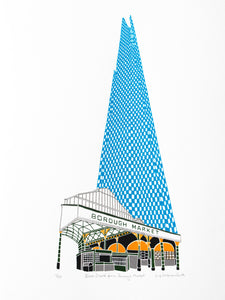 Blue shard building above Borough Market in London