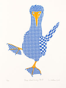 Blue booby with check pattern, blue footed booby bird, 2 colour original hand pulled limited edition screen print, 40 x 30 cm