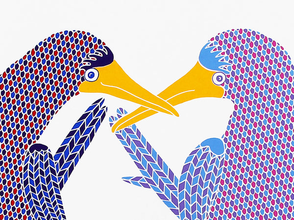 pair of blue footed boobies dancing screen print