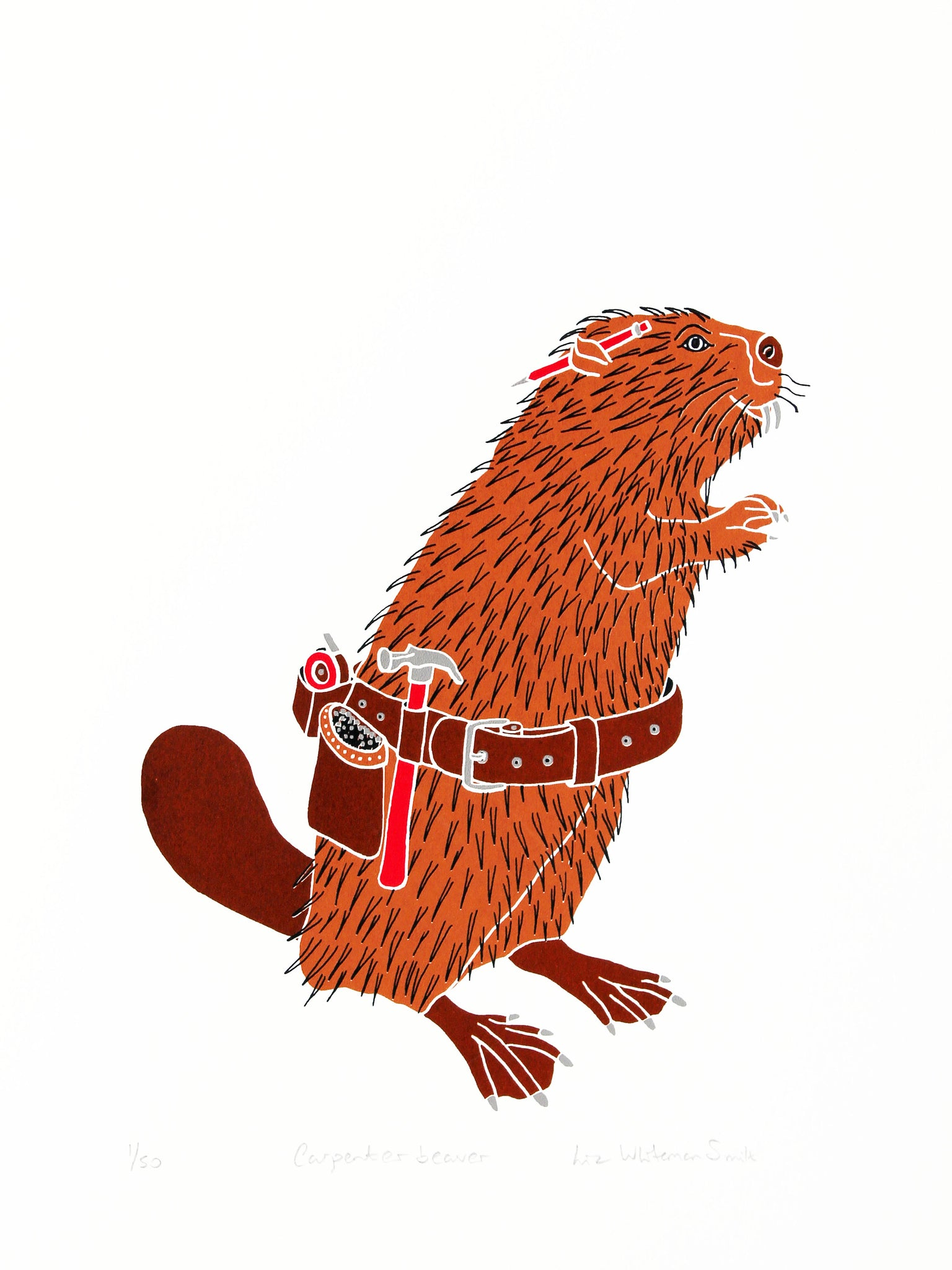 Animals have special characteristics that mean they are perfectly adapted to certain jobs. The beaver loves chewing wood and making things with wood. 4 colour screen print, 30x40 cm, £80.