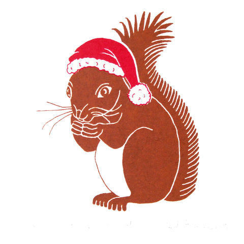 Brown squirrel wearing a red Christmas hat