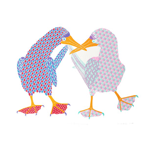 A pair of blue footed boobies dancing screen print