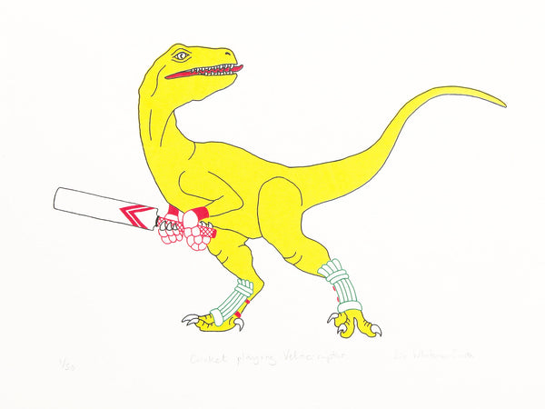 Yellow dinosaur playing cricket