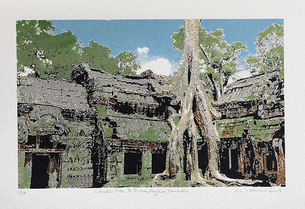Ta Prohm, Angkor Wat is an ancient monument in Cambodia, used as a set for Tomb Raider, 5 colour screen print.