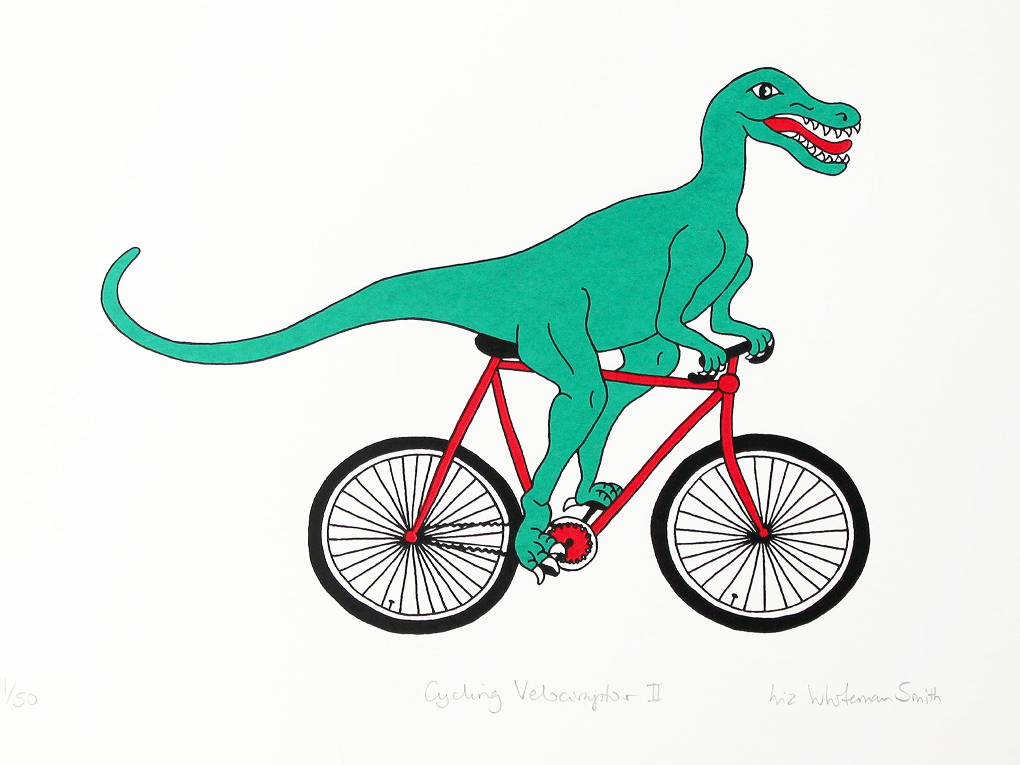 Green velociraptor cycling along happily on a red bicycle