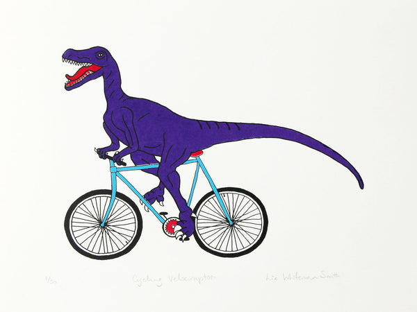 Purple velociraptor cycling along happily on a teal bicycle