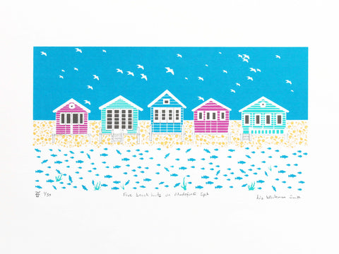 Five brightly coloured beach huts inspired by those on Mudeford Spit, Dorset. 4 colour limited edition hand made screen print on Heritage white 315gsm