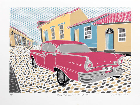 Ford Fairlane, 1950s American car in a typical Trinidad street scene in Cuba, 8 colour screen print