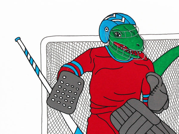 Green velociraptor wearing a red top playing ice hockey
