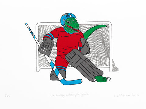 Ice hockey velociraptor goalie
