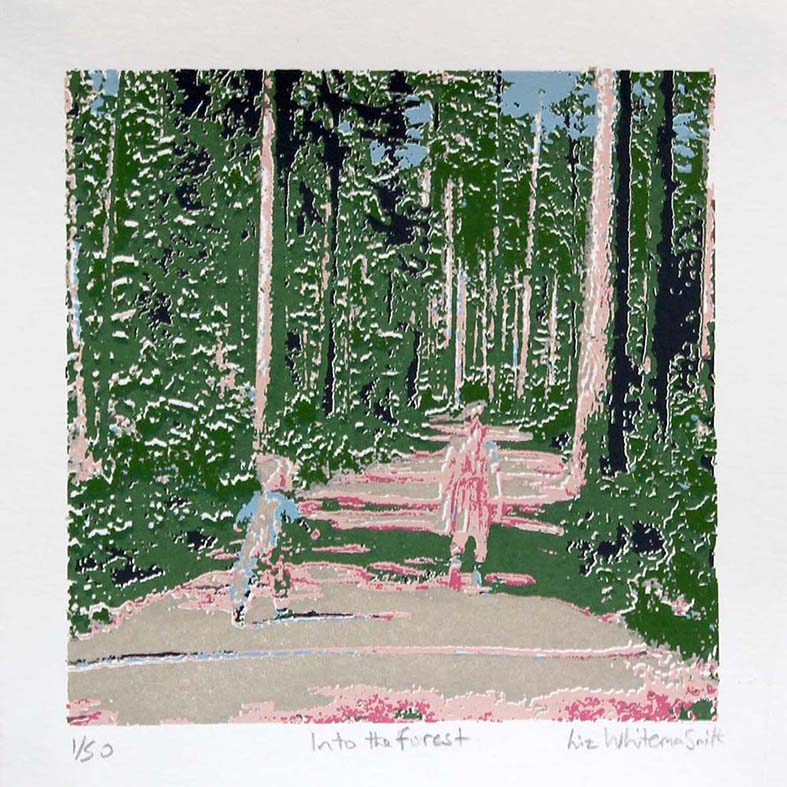 Original hand pulled 7 colour screen print, image size: 12 x 12 cm on 18 x 18 cm Heritage White 315 gsm paper, from a limited edition of 50. Two children wander into the forest in Finland.