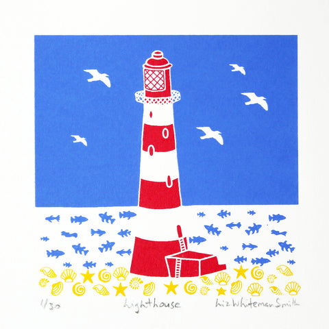 Red and white striped lighthouse with sea shell and fish motif