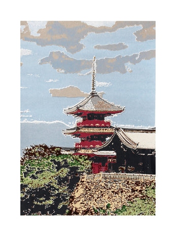 Japanese temple in Kyoto, screen print, 30x 40 cm