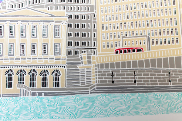 This London scene features three iconic buildings - the Cheesegrater, Gherkin and the Walkie Talkie