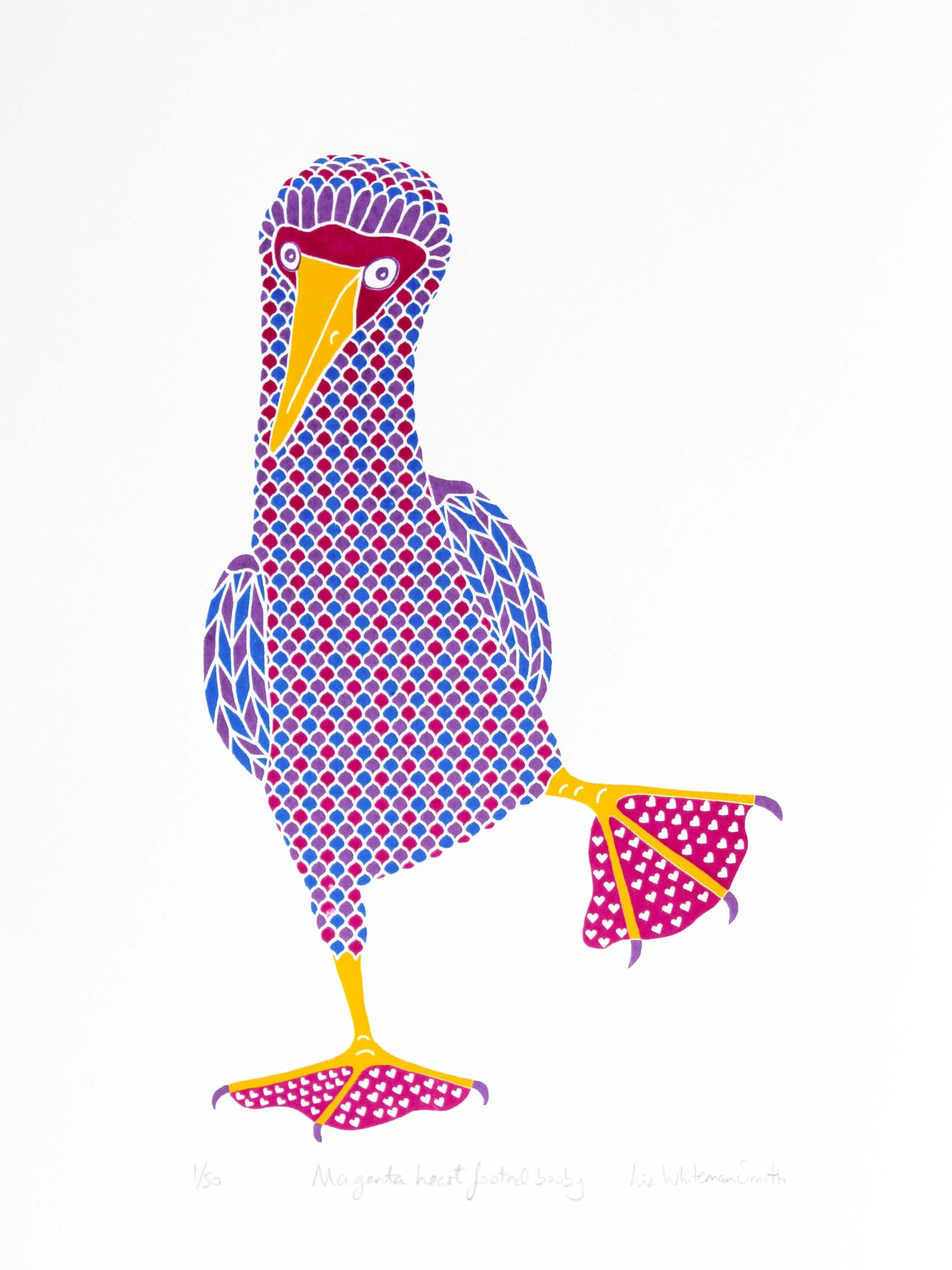 Pink booby with heart pattern on feet, blue footed booby bird, 4 colour original hand pulled limited edition screen print, 40 x 30 cm