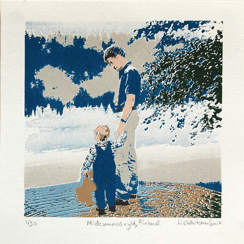 A small child holds on tightly to his favourite bear and his father's hand at midnight by a lake in Finland on midsummer's night. 7 colour screen print