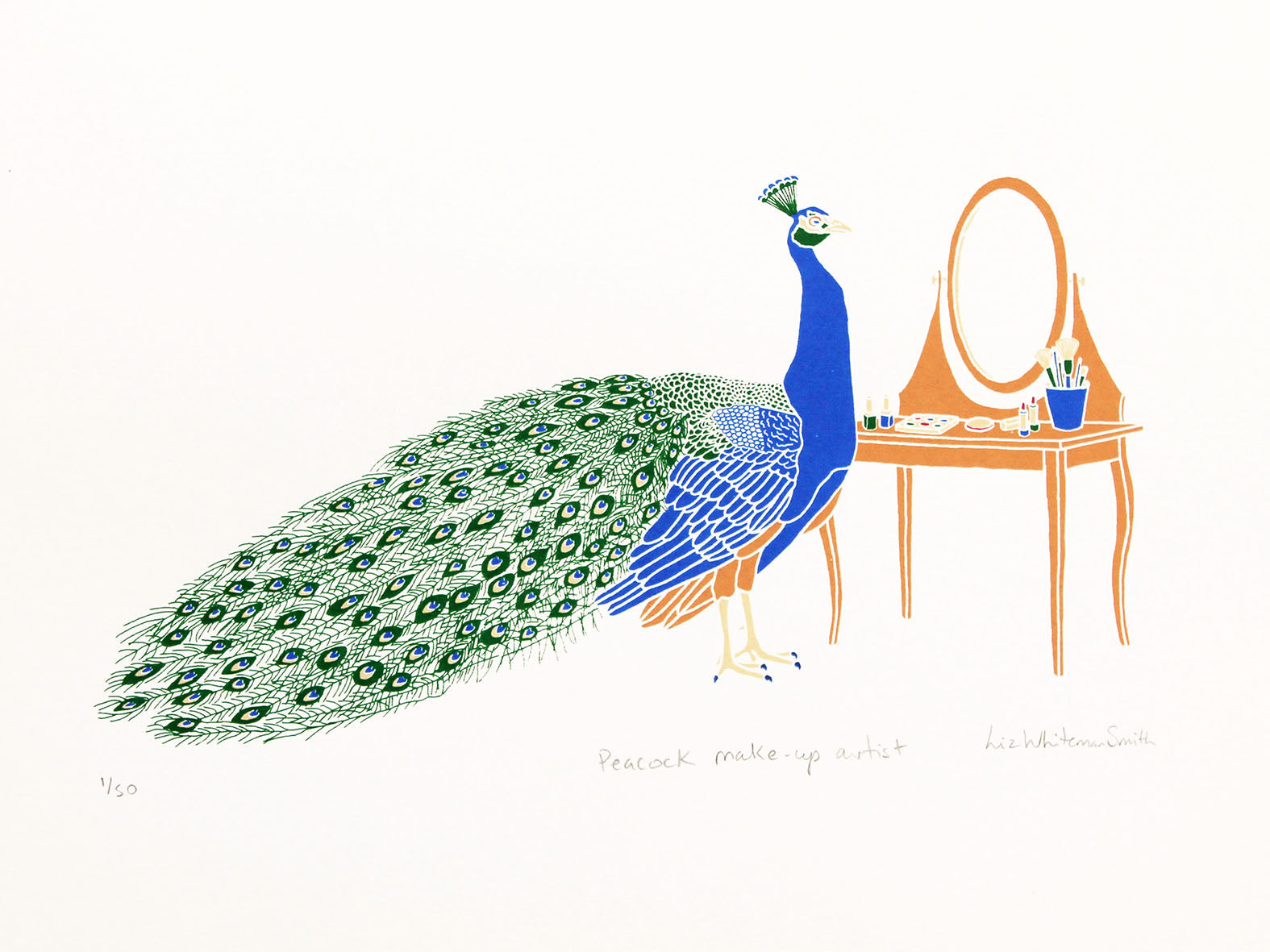 Blue peacock with feathers looking into a mirror