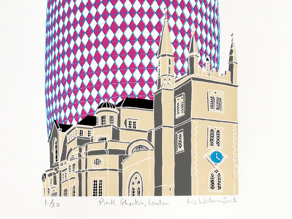 Pink Gherkin building by Old London church