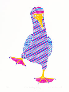 Pink booby with dot pattern on feet, blue footed booby bird, 4 colour original hand pulled limited edition screen print, 30 x 40 cm