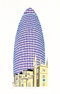 Purple Gherkin building by Old London church