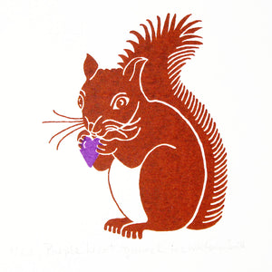 Brown squirrel clutching a purple heart