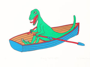 Green velociraptor rowing a blue boat, 5 colour screen print on Heritage white 315 gsm, 40x30cm, Limited edition of 50