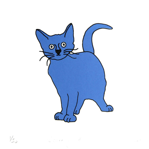 Blue cat who looks startled mini print